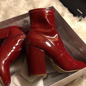 Red Patent Leather Bootie